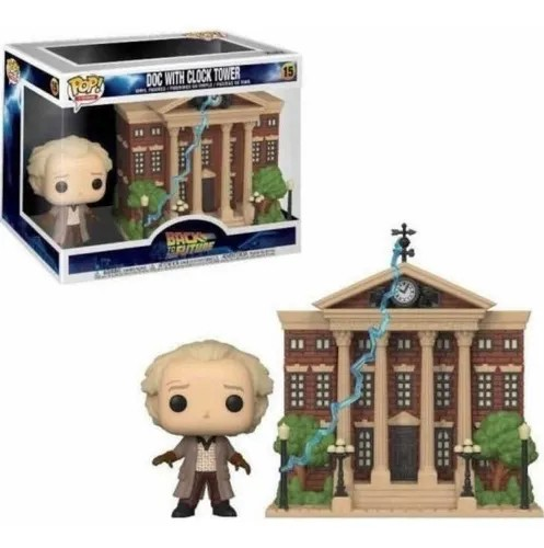 Funko Pop! Town Doc Brown com a Torre do Relógio (with Clock Tower): De Volta Para o Futuro (Back to the Future) #15 - Funko