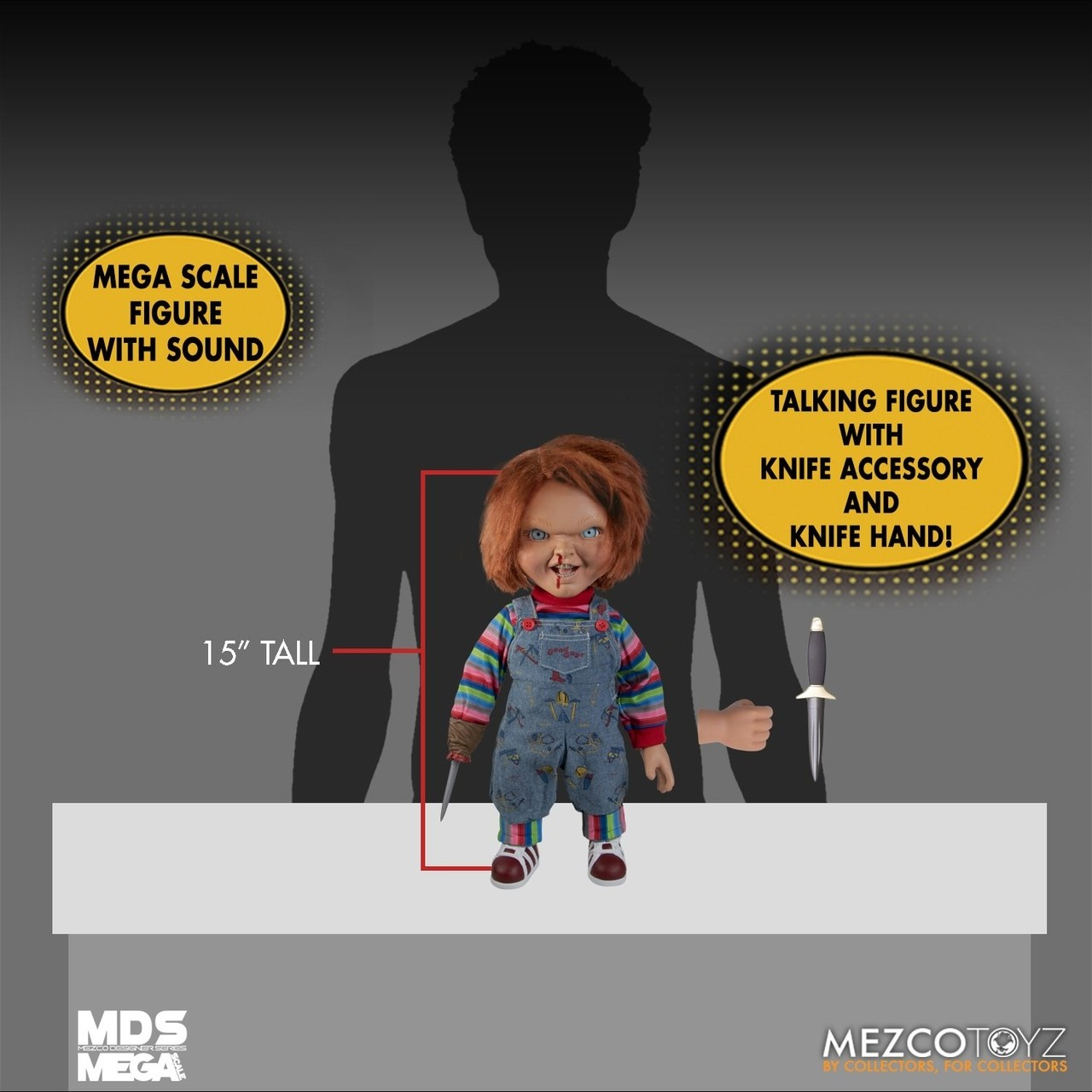 PRÉ VENDA: Réplica Boneco Chucky Falante (Talking Menacing): Brinquedo Assassino 2 (Escala 1/5) - Mezco