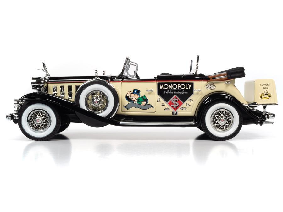 PRÉ VENDA: Réplica Carro Cadillac V16 Sport Phaeton 1932 Monopoly Escala 1/18 E Mini Estátua Mr. Monopoly - Auto World