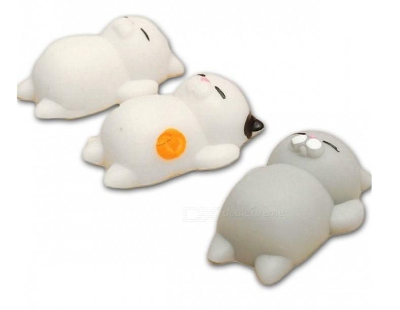 PRÉ VENDA: Squishy Toy Brinquedo de Apertar Anti Stress Gato Preguiçoso (Set de 3)