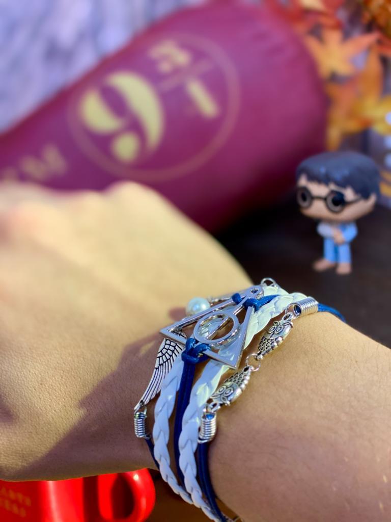 Pulseira Berloques: Harry Potter (Azul e Branco)