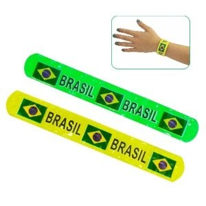 Pulseira Brasil Bate Enrola Verde e Amarelo (20 Unidades): Copa do Mundo
