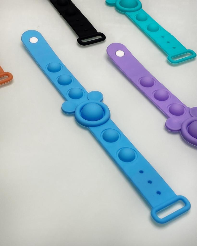 Pulseira Brinquedo Anti Estresse Pop It Fidget Bubble Bolha Sensorial de Alívio de Stress Mickey Mouse Azul - Disney