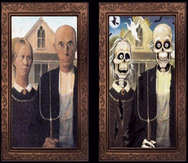 Quadro Halloween: Casal Caveira