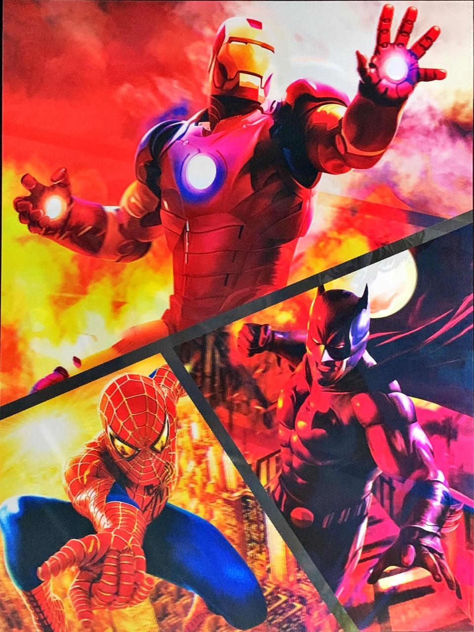 Quadro 3D Lenticular: Super-Heróis (43x30)