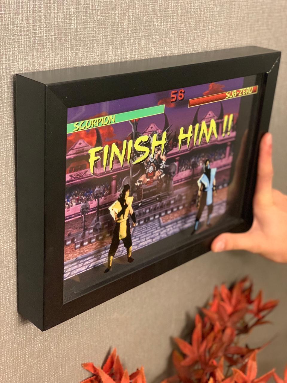 Quadro 3D Scorpion Vs Sub-Zero (Finish Him): Mortal Kombat - EV