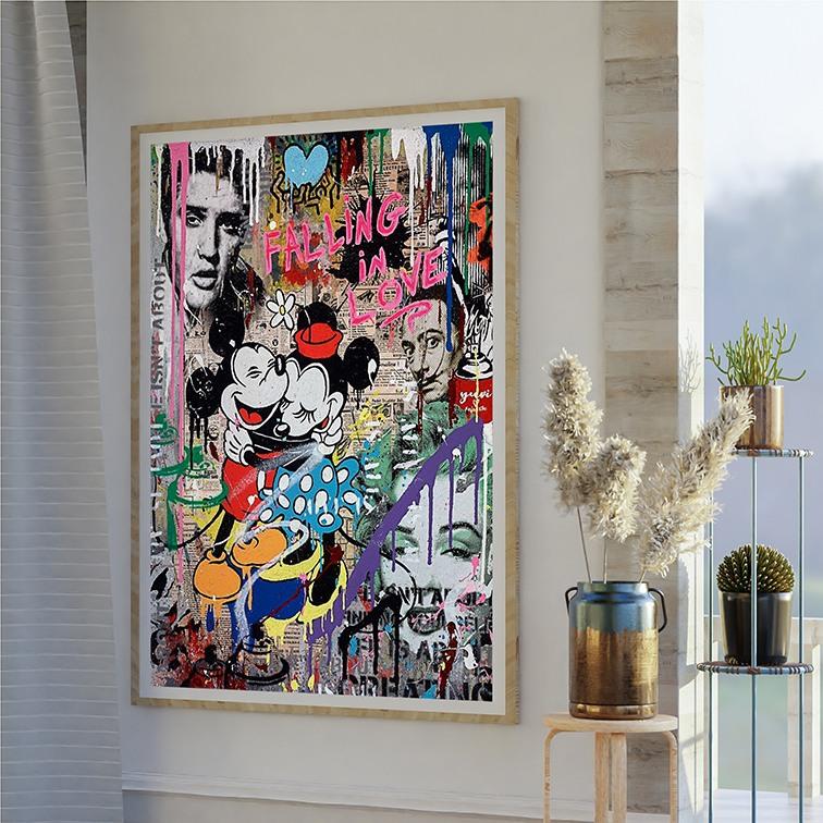Quadro Canvas Com Moldura 100x80 Mickey Mouse Minnie Falling In Love  Grafitti Elvis  Personagens