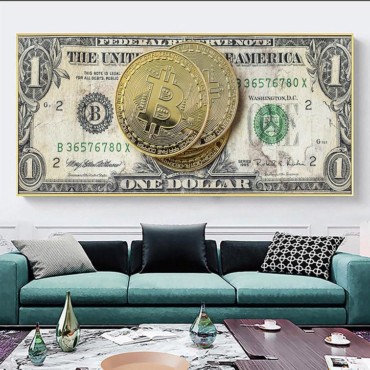 Quadro Canvas Com Moldura 120x50 Bitcoin Money Criptomoeda Dolar - EV