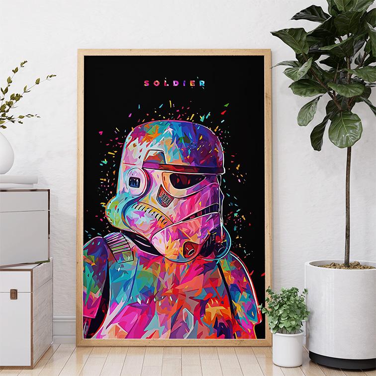 Quadro Canvas Com Moldura 50x80 Soldier Painting Splattered Stormtrooper Star Wars - EV