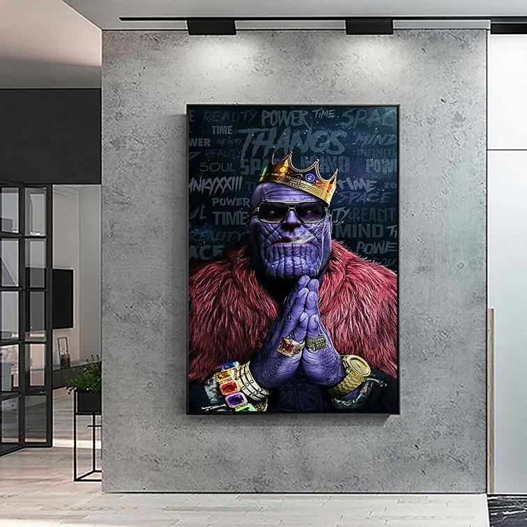 Quadro Canvas Com Moldura 50x80 Thanos King Avengers Power Time - EV
