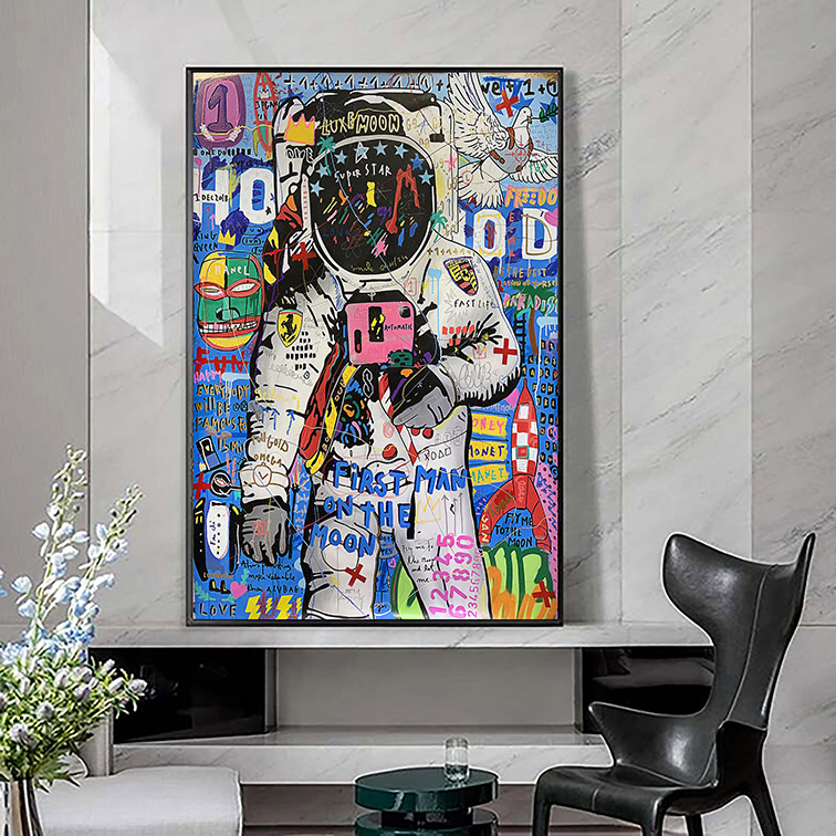 Quadro Canvas Com Moldura 60x80 Astronaut First Man On The Moon Graffiti Wall Art Astronauta Nasa - EV