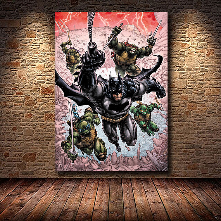 Quadro Canvas Com Moldura 60x80 Batman Teenage Mutant Ninja Turtles As Tartarugas Ninjas - EV