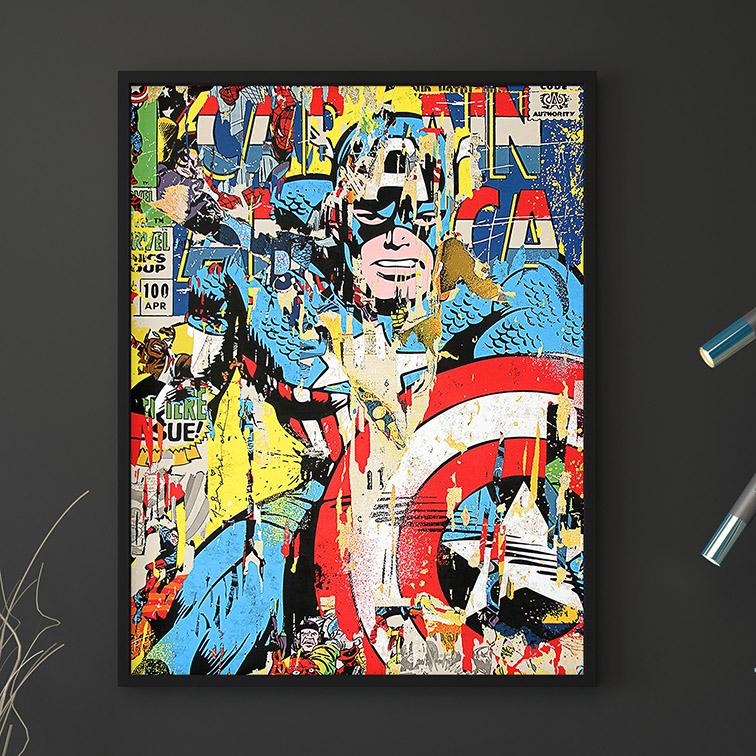 Quadro Canvas Com Moldura 60x80 Captain America Marvel Graffitti Capitão América - EV