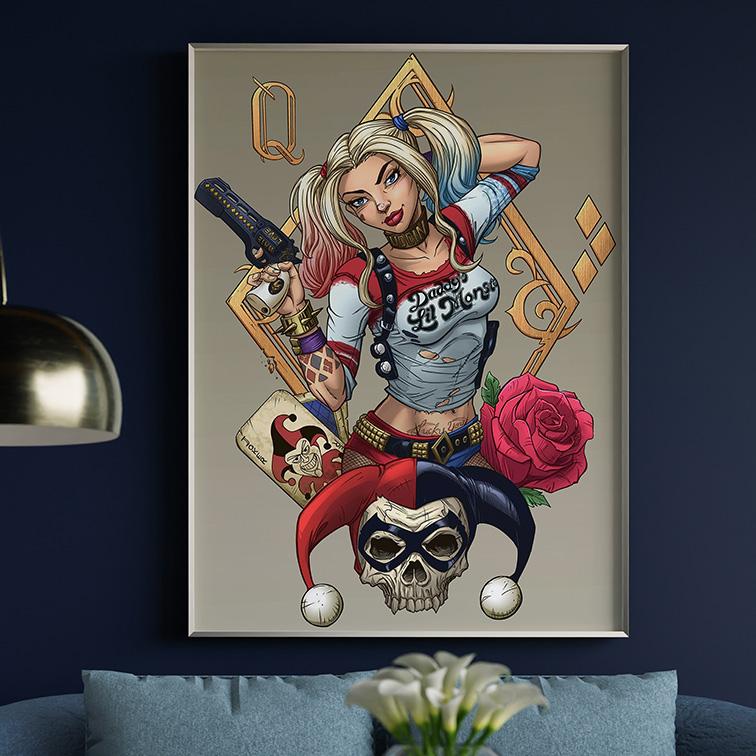 Quadro Canvas Com Moldura 60x80 Harley Quinn Joker - EV