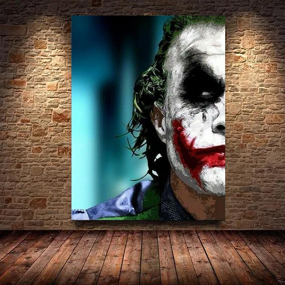 Quadro Canvas Com Moldura 60x80 Joker Coringa Smile - EV