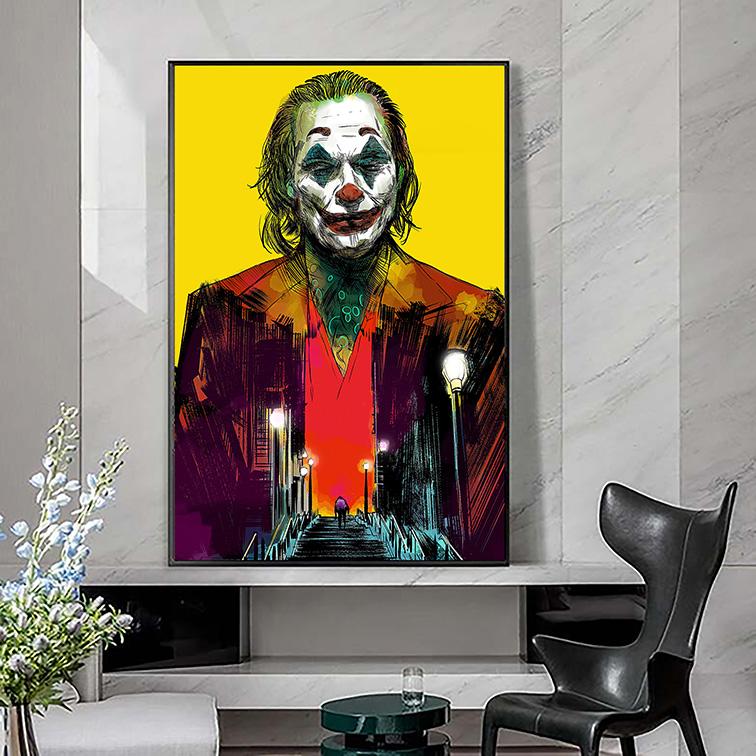 Quadro Canvas Com Moldura 60x80 Joker The Dark Knight Returns Villains Joaquin Phoenix Coringa - EV
