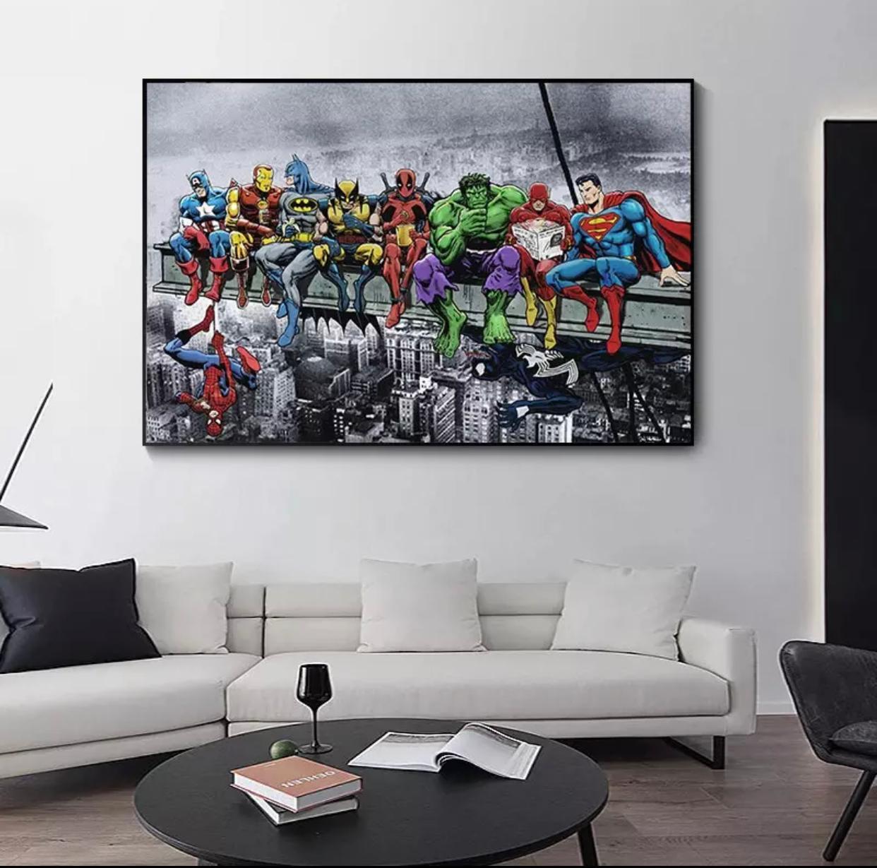 Quadro Canvas Com Moldura 60x80 Marvel DC Superheroes Empire State Buildin Workers - EV