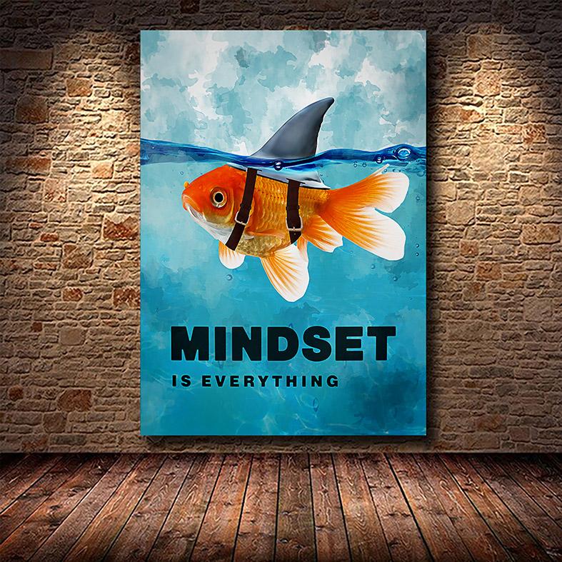 Quadro Canvas Com Moldura 60x80 Mindset Is Everything Fish Shark Motivational - EV