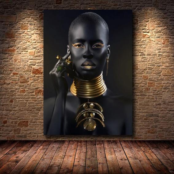 Quadro Canvas Com Moldura 60x80 Mulher Negra Africana Feminina Dourado - EV