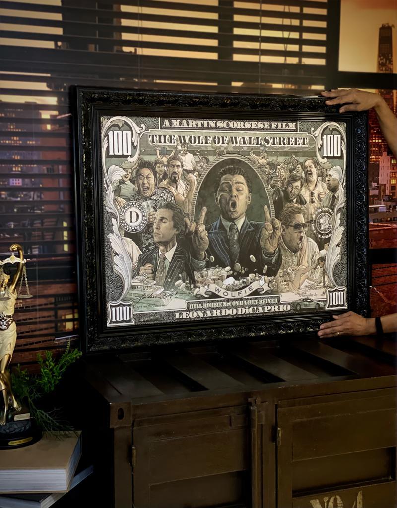 Quadro Canvas Com Moldura 74x94 Lobo de Wall Street The Wolf Of Wall Street - EV