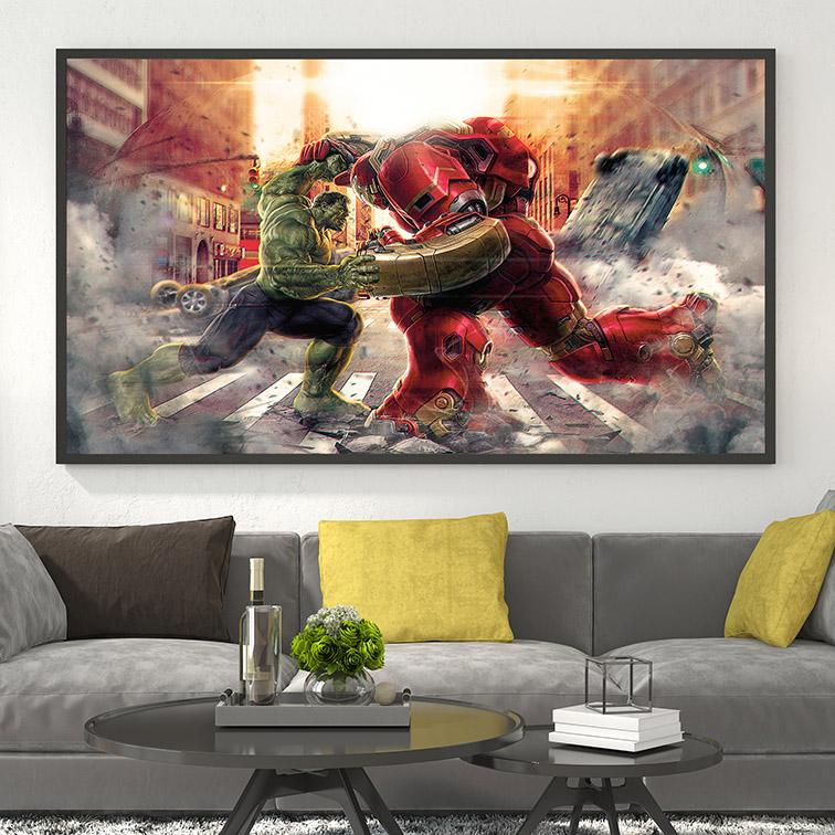 Quadro Canvas Com Moldura 80x50 Avengers Hulk Vs Iron Man HulkBuster Fight Homem de Ferro - EV