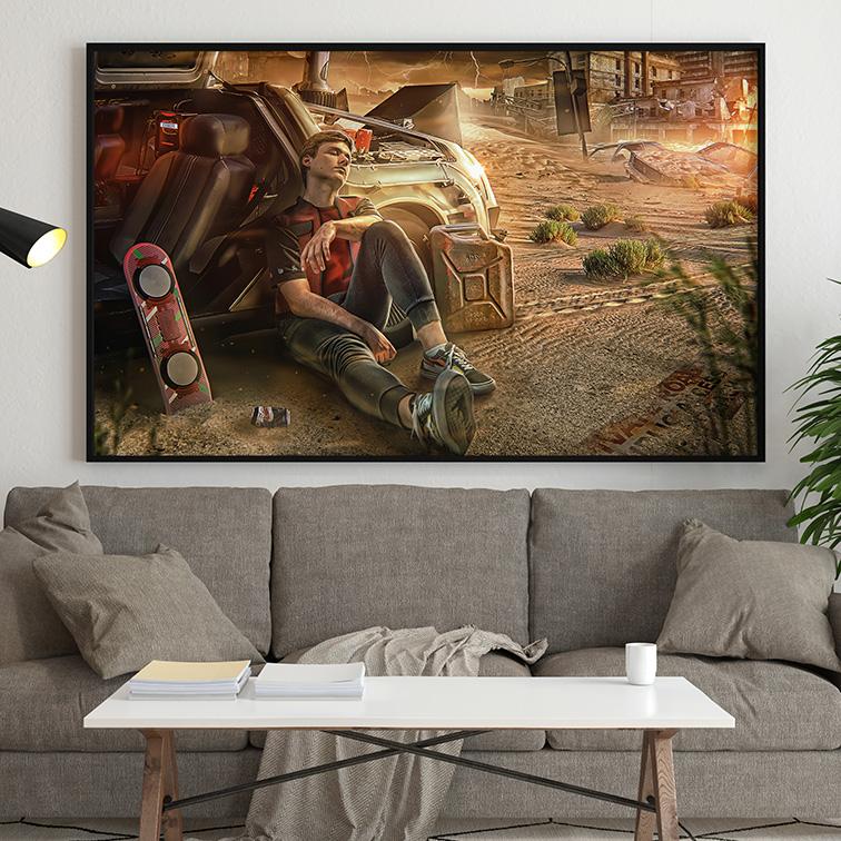 Quadro Canvas Com Moldura 80x50 Back To The Future Marty McFly Hoverboard De Volta Para O Futuro - EV