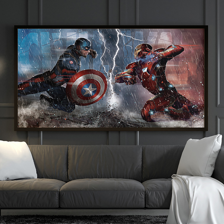 Quadro Canvas Com Moldura 80x50 Iron Man Vs Captain America Homem de Ferro Vs Capitão América - EV