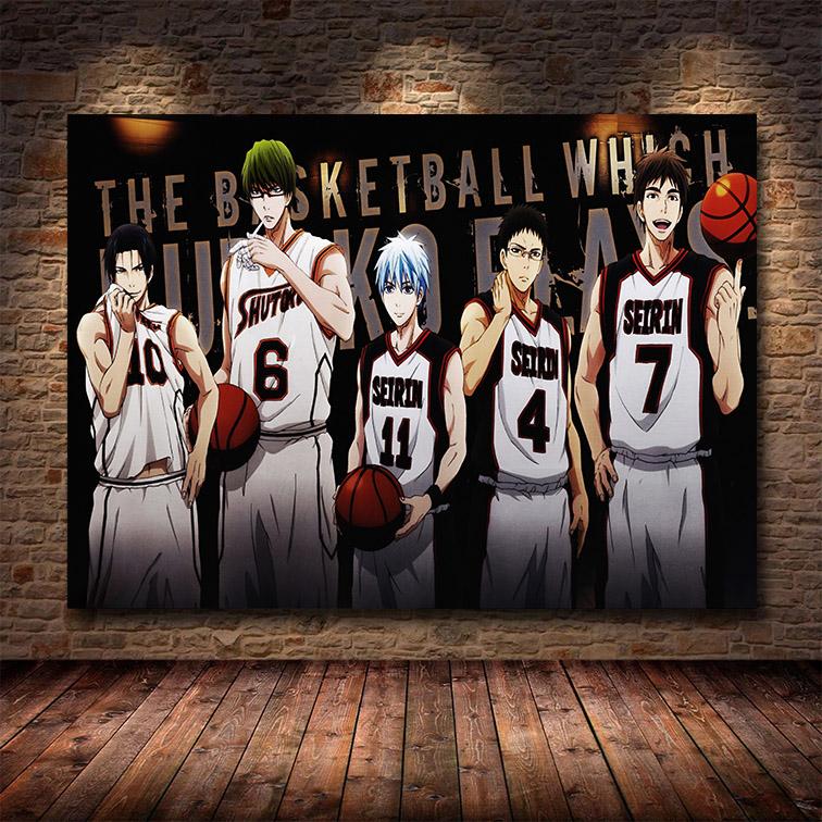 Quadro Canvas Com Moldura 80x50 Kuroko Basket Seirin Anime - EV