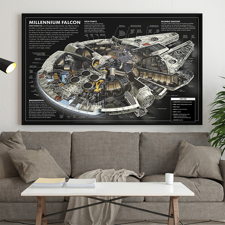 Quadro Canvas Com Moldura 80x50 Schematics For The Millennium Falcon Star Wars - EV