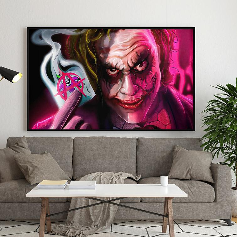 Quadro Canvas Com Moldura 80x50 The Joker Anarchist Card Coringa - EV