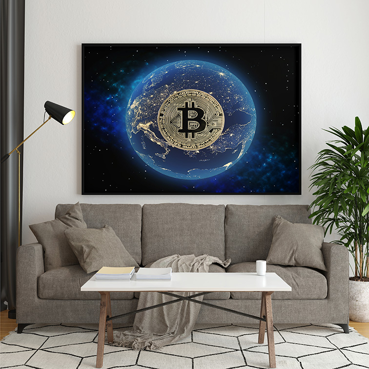 Quadro Canvas Com Moldura 80x60 Bitcoin Money Criptomoeda Muda o Mundo - EV