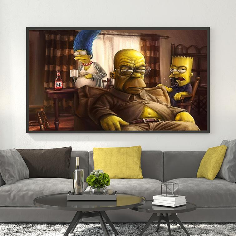 Quadro Canvas Com Moldura 80x60 The Simpsons Homer, Marge, Bart Duff Beer - EV