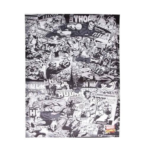 Quadro Canvas Comics Preto e Branco Marvel - Zona Criativa