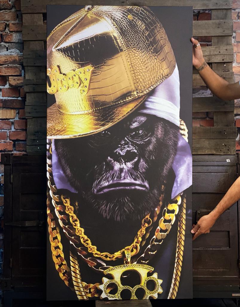 Quadro Canvas Sem Moldura 140x70 Gorila Gangstar