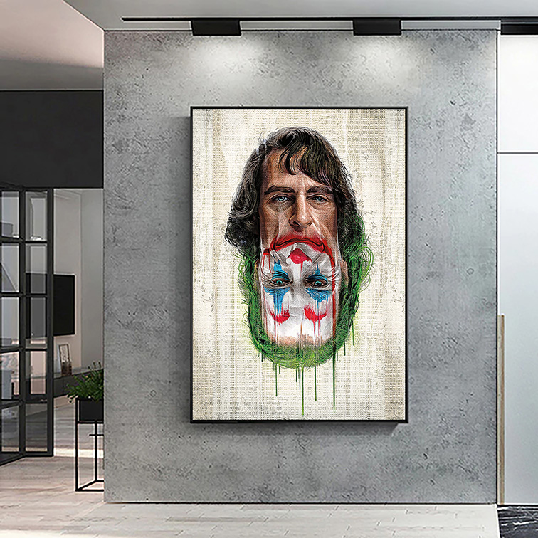 Quadro Canvas Sem Moldura 60x80 Joker The Dark Knight Returns Villains Joaquin Phoenix Coringa - EV
