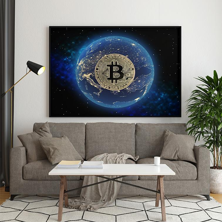 Quadro Canvas Sem Moldura 80x60 Bitcoin Money Criptomoeda Muda o Mundo - EV