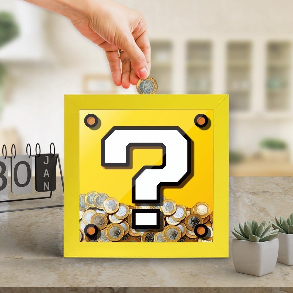 Quadro Cofre 3D Cubo de Interrogação: Super Mario Bros