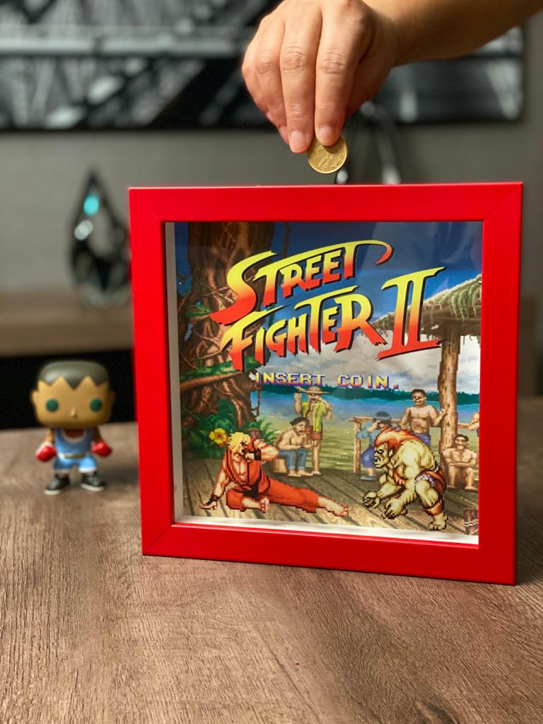 Quadro Cofre 3D Ken vs Blanka: Street Fighter II