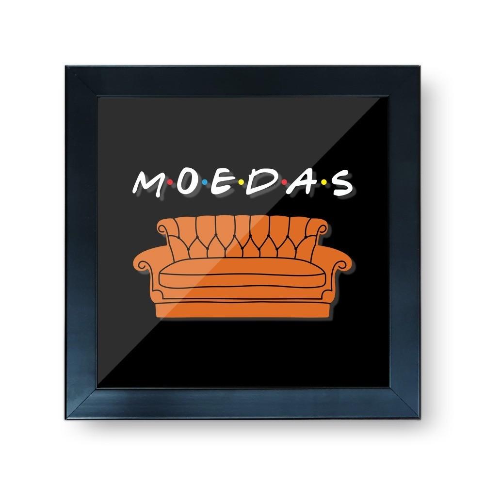"""Quadro Cofre 3D """"Moeda"""": Amigos - EV"""