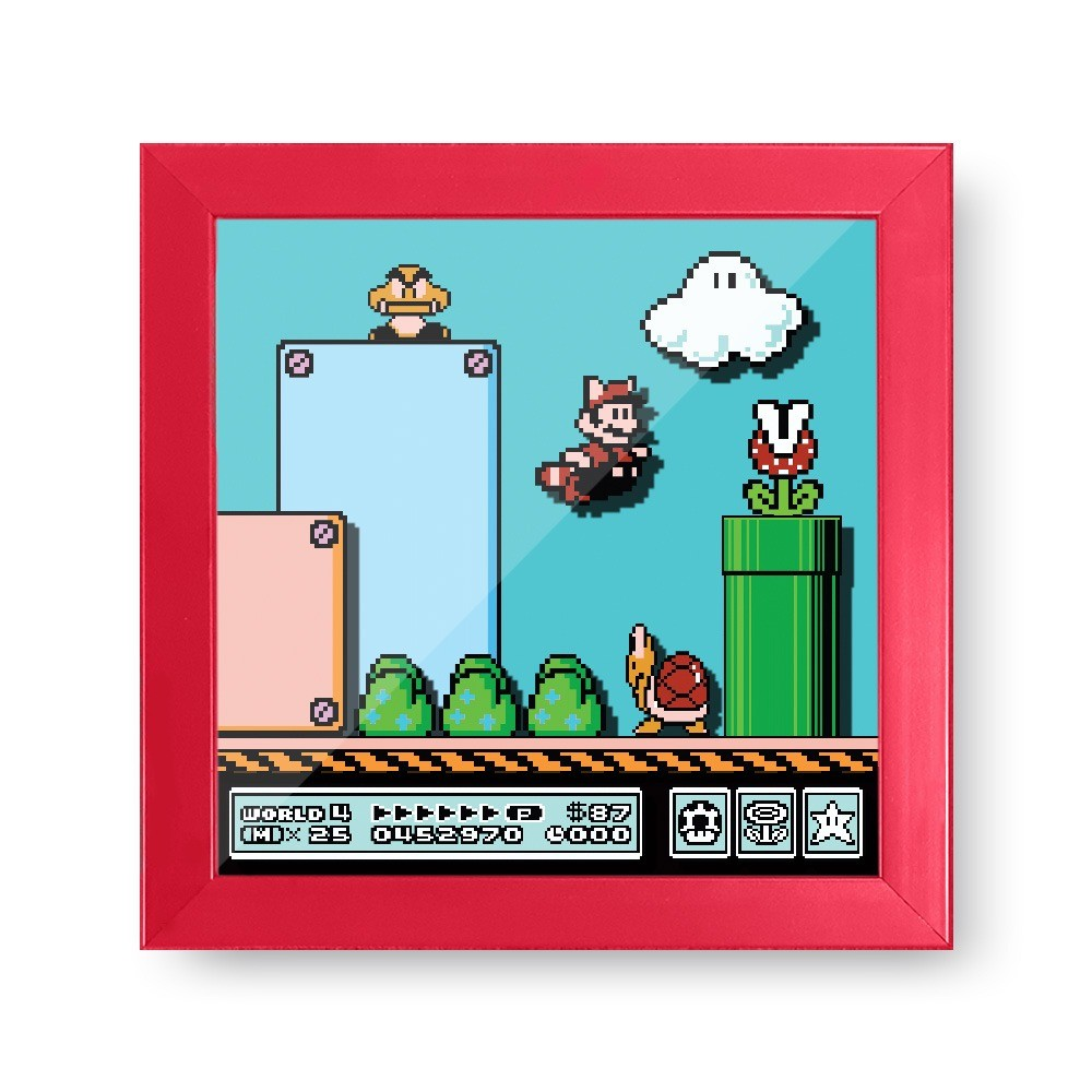 "Quadro Cofre 3D ""Mundo (World)  4"": Super Mario Bros 3"