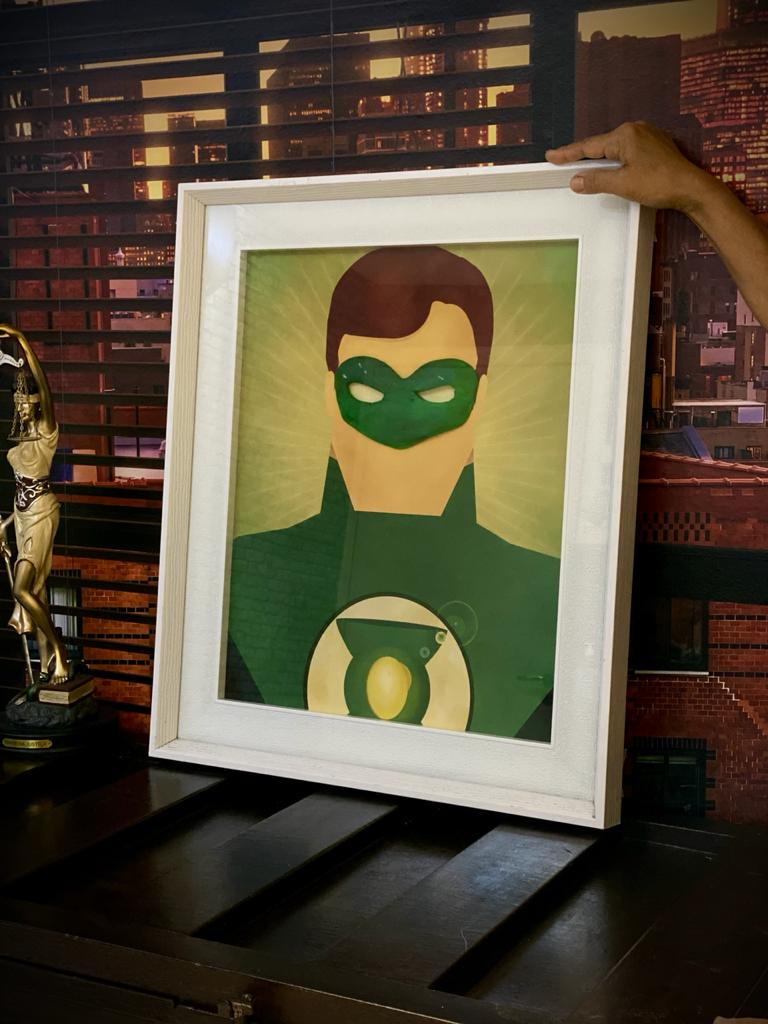 Quadro Com Moldura 3D Lanterna Verde Green Lantern DC Comics 63x53