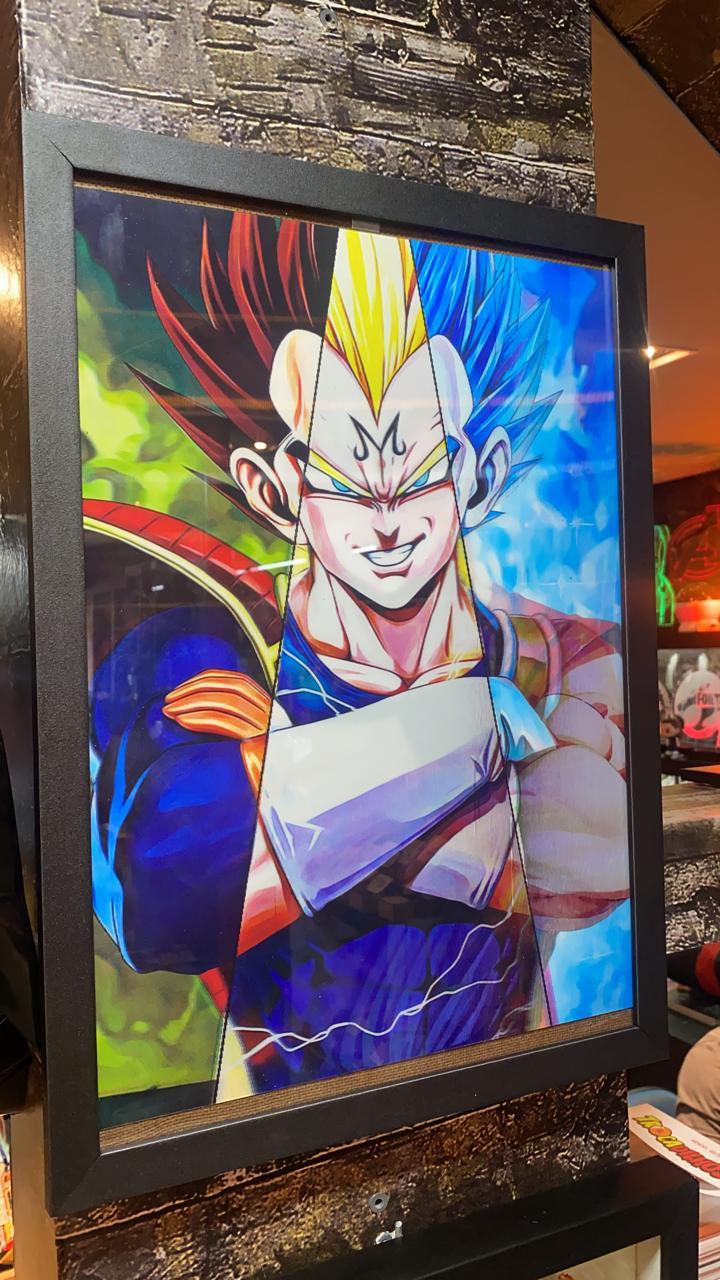 Quadro Com Moldura 3D Lenticular: Goku & Vegeta: Dragon Ball Z (40x30)