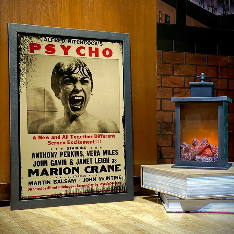 Quadro Com Moldura Alfred Hitchcock's Psycho Movie Poster Psicose - 33x46 - EV
