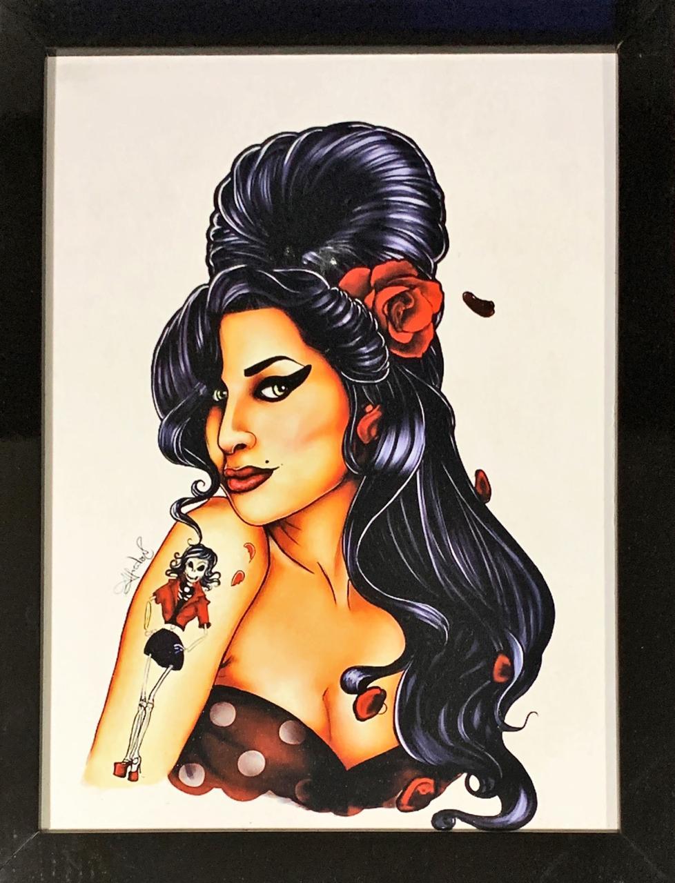 Quadro com Moldura Amy Winehouse (Tatuagem)