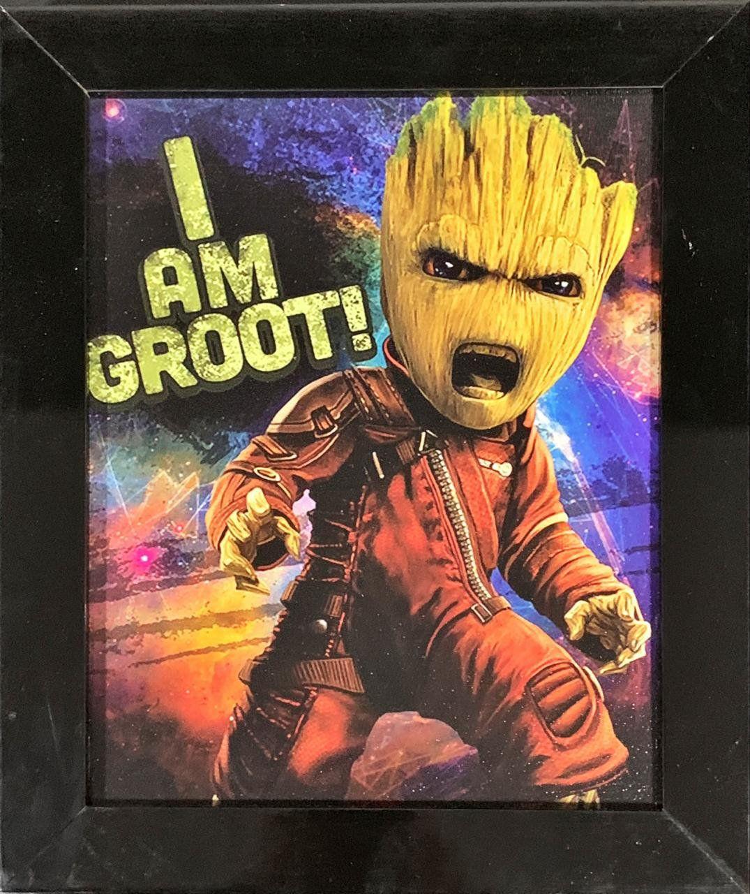 Quadro com Moldura Angry Baby Groot