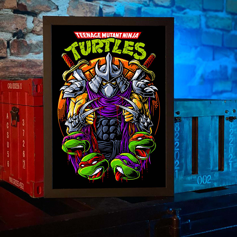 Quadro com Moldura As Tartarugas Ninjas Destruidor Teenage Mutant Ninja Turtles - 46x33 - EV