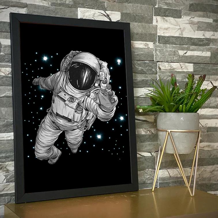 Quadro Com Moldura Astronauts Space Nasa Astronauta - 46x33 - EV