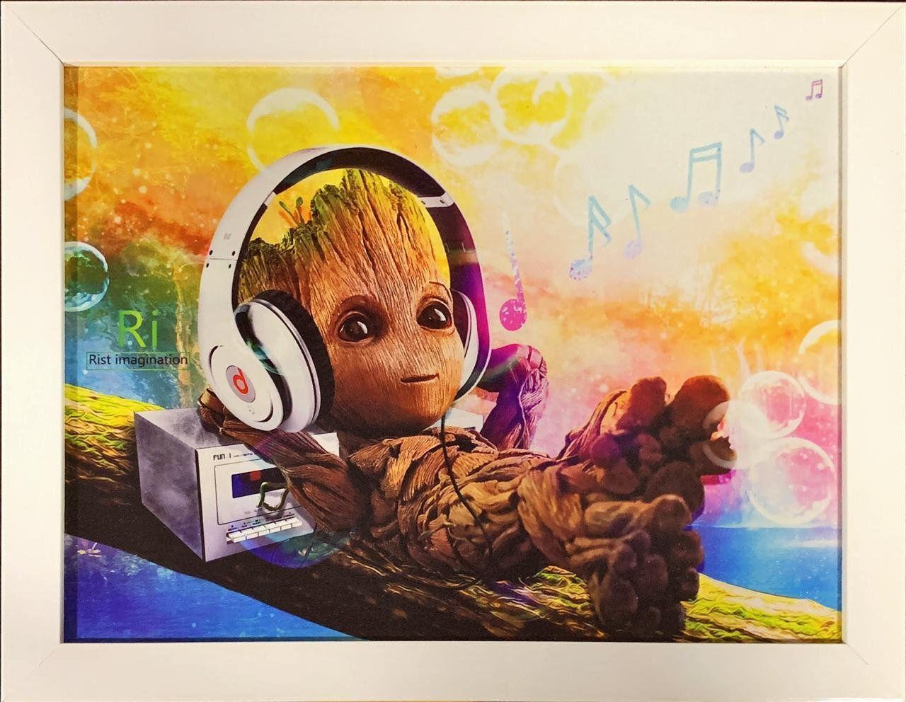 Quadro com Moldura Baby Groot (Fone de Ouvido): Guardiões da Galáxia Vol. 2 (Guardians of the Galaxy Vol. 2)