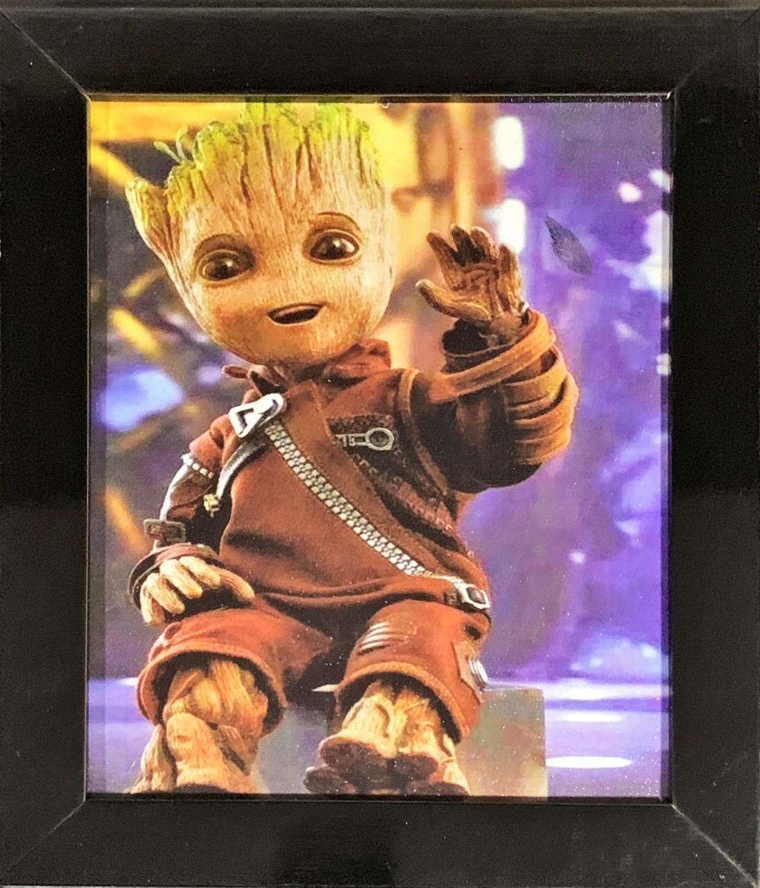 Quadro com Moldura Baby Groot: Guardiões da Galáxia Vol. II - (24x29)