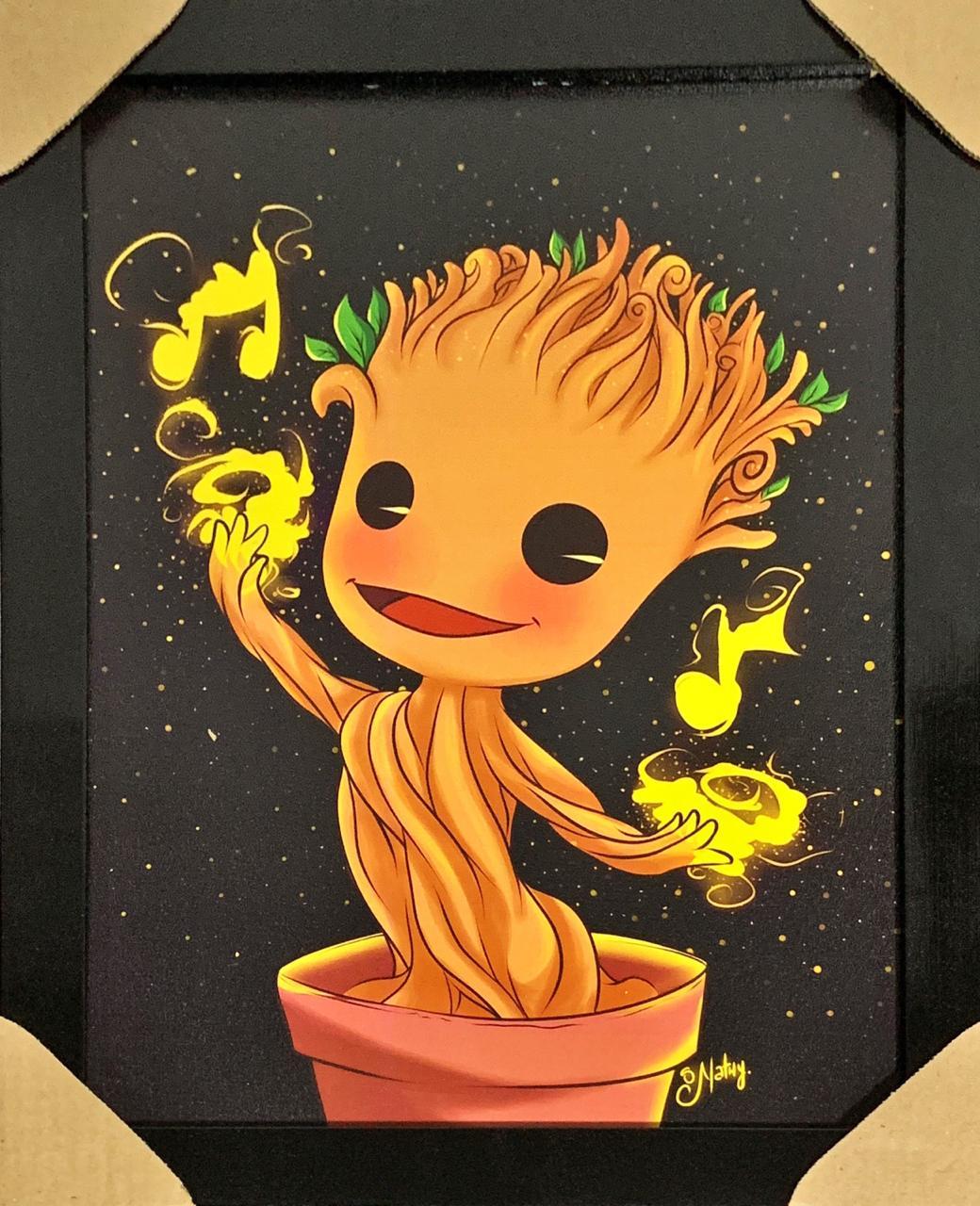 Quadro com Moldura Baby Groot: Os Guardiões da Galáxia